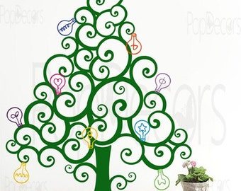 Christmas Tree Decal - Christmas Tree with Colorful Bulbs - Free Squeegee and color change - Custom Holiday Tree Wall Decals Christmas Decor