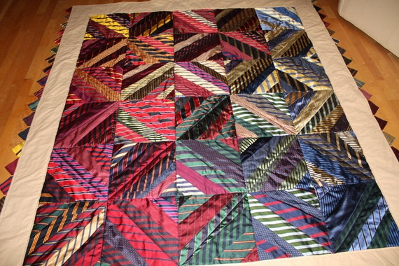 Items similar to Custom Necktie Quilt made using mens neck ties on ... : mens quilts - Adamdwight.com