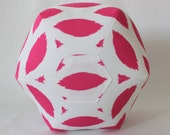 "18"" Ottoman Pouf Floor Pillow Candy Pink White Ikat"