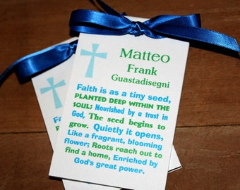 Personalized Blue Green Subway Art Religious Baptism First Holy Communion Christening Thank You Gift Favors SALE CIJ Christmas in July