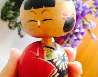 Vintage Wooden Bobble Head Japanese Kokeshi Doll