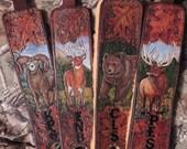 Handcarved Rifle sling with whitetail deer, Bighorn sheep, Brown bear, or Elk, sheepskin padding