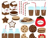 Chocolate Milk & Cookies Clipart Set - clip art set of milk, cookies, milk bottles - personal use, small commercial use, instant download