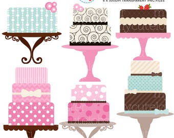 Cakes Clipart Set - clip art set of elegant cakes - personal use, small commercial use, instant download