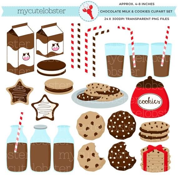 Chocolate Milk & Cookies Clipart Set clip art set of milk