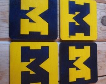 University of Michigan Coasters (Set of 4) - Block M - mixed Maize and Blue