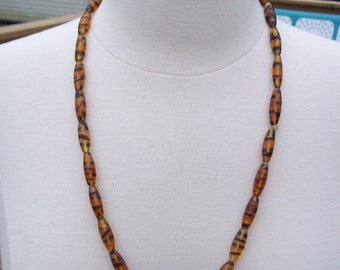 Vintage Tigers Eye Glass Beaded Necklace