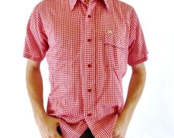 Vintage Mens Shirt, 70s Vintage Shirt, Red & White Gingham Top, Cotton Shirt, Size Medium