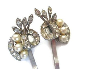 Art Deco Bobby Pins Wedding Hairpins Rhinestone Pearl Bridal Fashion Accessories  New Years Eve Jewelry