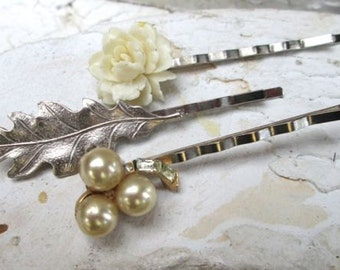 Wedding Hairpins Hair Accessories Pearl Cream Silver Leaf Bridal Jeweled Clips Neutral