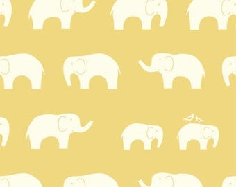 Ellie Fam Sun, Birch Organic, Mod Basics, Yellow Elephants, Modern Fabrics, One Yard, More Available
