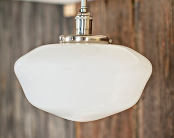 """Flush Light with 12"""" Opal Schoolhouse Style Glass Shade"""