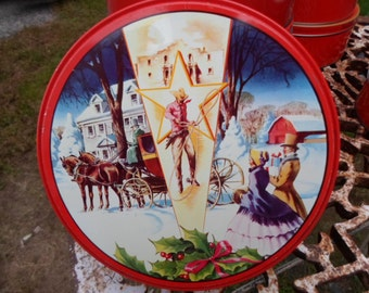 Vintage Fruit Cake Tin Round Christmas Winter Scene Stackable Texas DeLuxe Metal Container Storage Sewing Cookie Tin Embossed 1950s to 1960s
