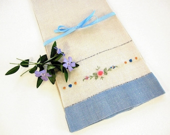 Vintage Embroidered Natural Linen Dish Tea Towel with Blue Hem, Pink Green Lavender Blue Yellow 1950s