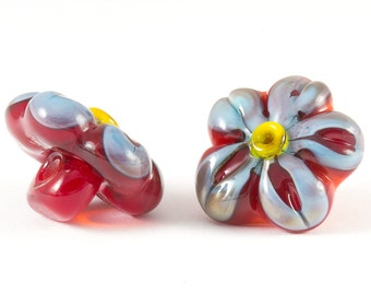 Glass shank buttons pair of red and blue flowers