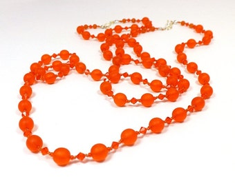 Hyacinth Orange Necklace Sets, Hand Knotted Glass Beads with Matching Earrings, One left: 22 inches (55cm) long with Earrings