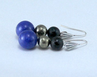Lapis Blue Mountain Jade, Onyx and Pyrite Earrings.  Black and Blue Earrings.  Hypoallergenic Earrings