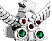 Pugster Silver Plated Red and Green Crystal Christmas Tree European Charm Bead (pug622)
