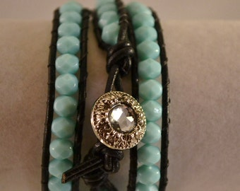 Handmade Black Leather and Turquoise Blue Wrap Boho Bracelet Three Wrap Czech Glass Beads Boho Womens Birthday Gifts