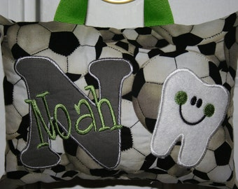Tooth Fairy Pillow for Boys - Personalized - Soccer