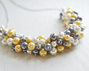Grey Yellow White Pearls Cluster Necklace, Bridal Jewelry, Chunky Cluster Pearl Beaded Necklace, Gray yellow Bridesmaid Necklace, Prom Gift
