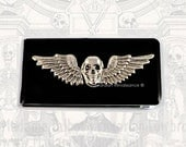 Skull with Wings Money Clip Inlaid in Hand Painted Black Enamel Steampunk Gothic Inspired Custom Colors and Personalized Options