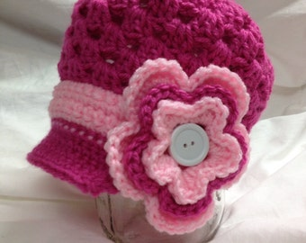 Newsboy hat with flower