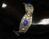 """Old Vintage Mexico Silver Bracelet Cobalt Blue Glass & Filigree Silver 7"""" Long"""