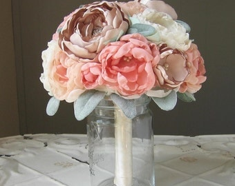 Fabric flower brooch wedding bouquet . Custom colors . peach, coral, champagne, ivory and lamb's ear