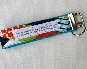 Custom Cubix Fabric Key Fob:  You choose verse or Quote