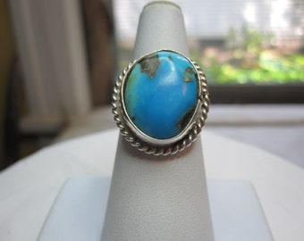 Sterling and Turquoise Ring with Rope Design
