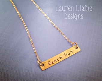 Custom Hand Stamped Brass Bar Necklace- Add Your Own Phrase