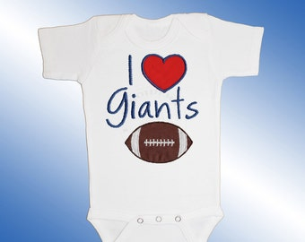 Baby Bodysuit Jersey Shirt - I Love Giants Football Applique - Embroidered Short or Long Sleeved