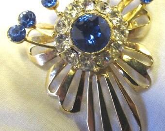 Vintage Sapphire Clear Rhinestone Brooch