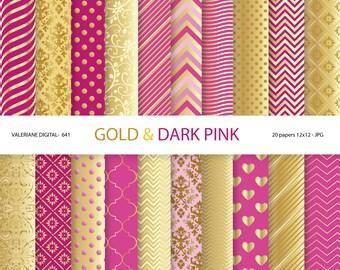 Gold and burgundy digital paper, dark pink, burgundy, wedding, digital backgrounds in indian red and gold, golden - Pack 641