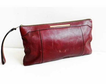 Vintage Leather Clutch Bag Oxblood Distressed Cowhide