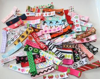 Bulk Lot of 30 Ribbon Lined Alligator Hair Clips Clippies Babies-Toddler-Girls