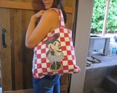 Vintage Minnie Mouse Tote Bag Red and White Checkered Shopper