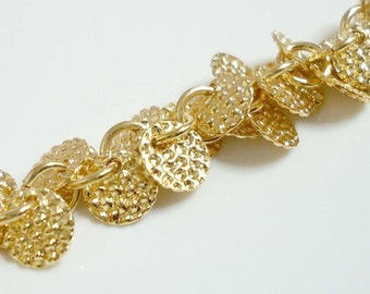 A-60. 20cm, Gold Plated,embossed disk chams chain