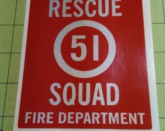 "Large Size - Squad 51 Sticker ""Emergency"" TV show.  Reflective sticker.  Rescue Squad."