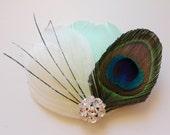 Wedding Bridal Ivory Mint Green Peacock Black Feather Rhinestone Jewel Head Piece Hair Clip Fascinator Accessory