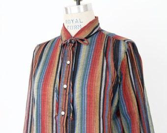 Striped Lurex Shirt, Peter Pan Collar Ascot Pussy Bow Top button down hipster 70s 80s nerd geek boho office lightweight Spring Summer blouse