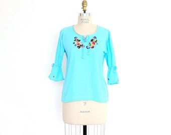 Boho Tunic Top Sky Blue Embroidered Floral Peasant Shirt, bright pop color cotton bell sleeve Ecuador exotic tropical Summer hippie pullover