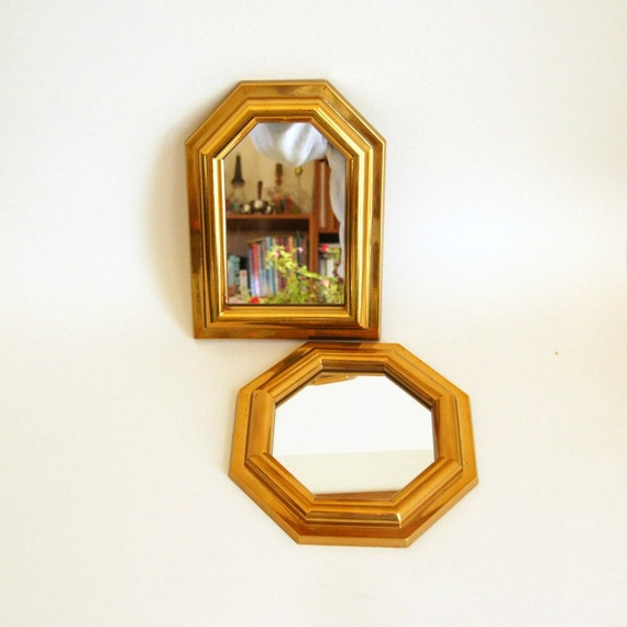 Small gold mirrors 2 plastic burwood by sentimentalfavorites for Small gold mirror