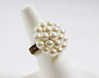 Vintage Pearl Button Adjustable Ring