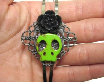 Sugar Skull Headband Green Black Rose Day Of The Dead Head Band
