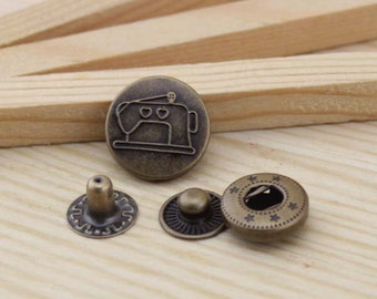 10sets antique bronze sewing Snap button S49 (requries 633 tool)