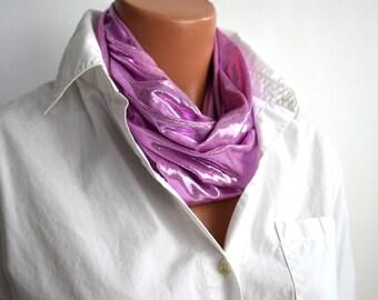 Metallic Baby Pink Infinity Scarf Lightweight Layering Fashion Piece Womens Ascot Summer Scarf Clubwear Pastel Pink Scarf