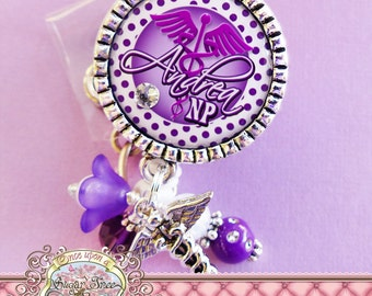 NURSE Personalized Id Badge Reel, Medical Symbol, Caduceus Charm, Student Nurse, RN Np Nursing, Id Clip, Bottle cap, Doctor Medical, Purple
