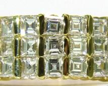 2.50CT Ascher / Square Cut Diamonds Band G/H Vs 14Kt Channel Deco